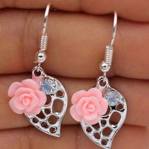 Pink Rose Resin Leaf Hollow Crystal Drop Earrings